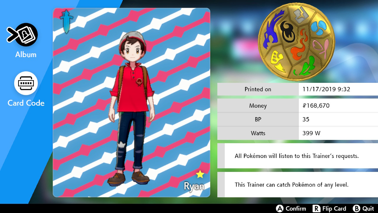 My Pokemon Sword Trainer Card